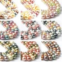 15 renkler kabuk inciler boncuk doğal kabuk yuvarlak gevşek halka boncuk takı yapımı için DIY bilezik küpe 15''