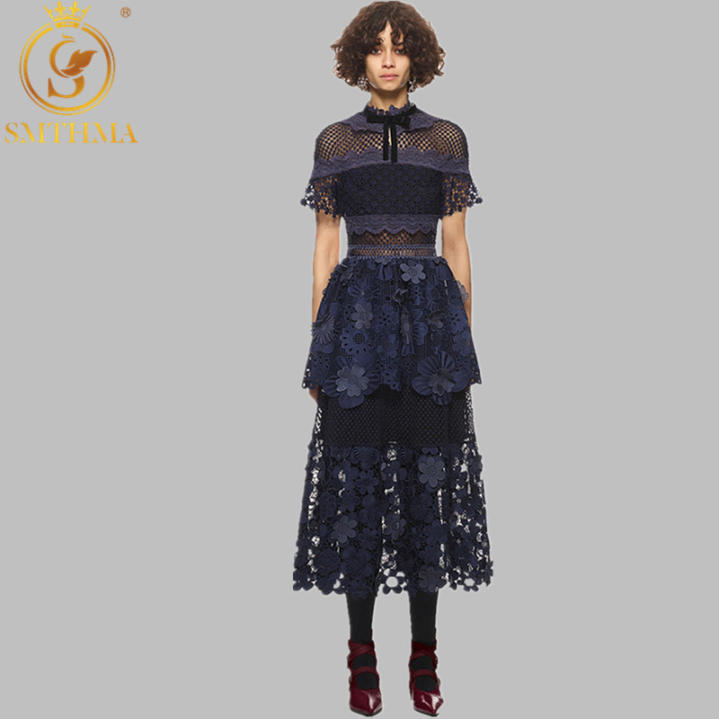SMTHMA HIGH QUALITY New Fashion 2019 Self-portrait 3d Flowers Dark Blue Lace Maxi Patchwork Long Dress