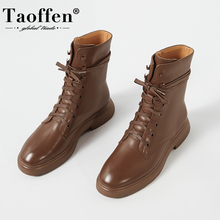 Taoffen Size 33-42 Ins New Ankle Boots Women Round Toe Thick Heel Genuine Leather Shoes High Quality Cool Shoes Footwear