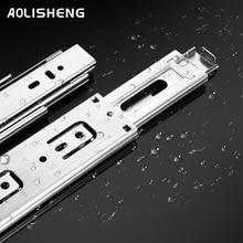 AOLISHENG drawer three-section rail thickened drawer slide rail guide cabinet slide