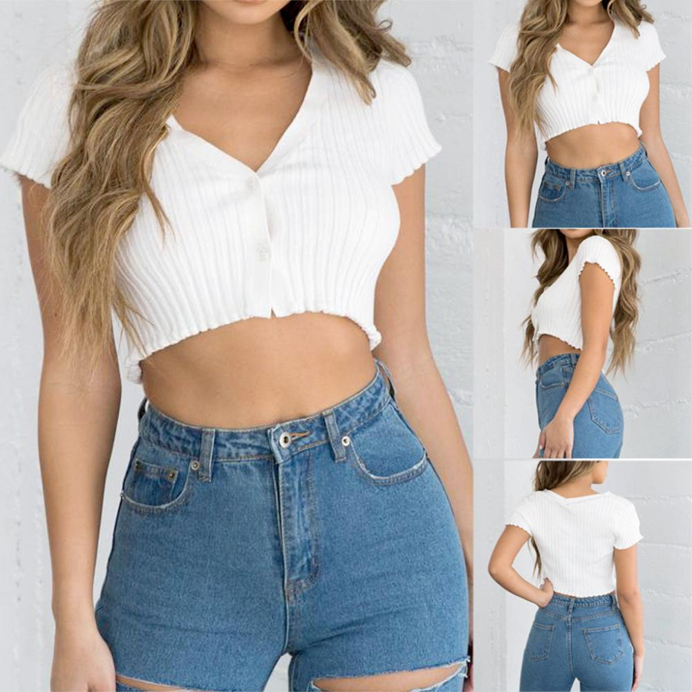 Women Summer <font><b>Sexy</b></font> Navel Short Sleeve <font><b>V</b></font> <font><b>Neck</b></font> <font><b>Buckle</b></font> Cardigan Single-Breasted T-shirt Blouse <font><b>Crop</b></font> <font><b>Top</b></font> Streetwear With denim shorts image