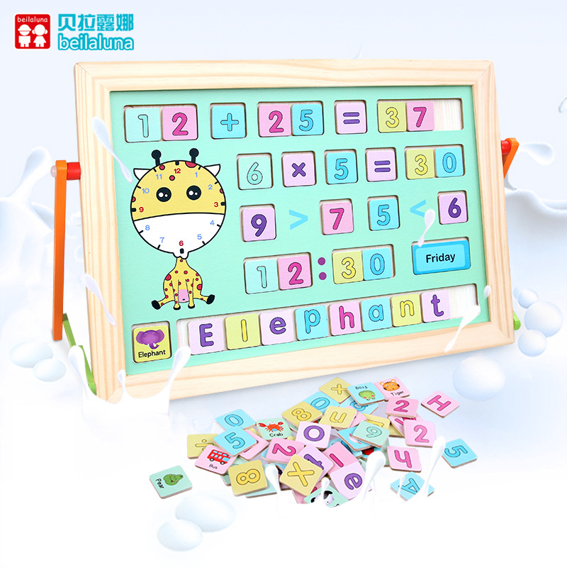 Wooden Children Learning Drawing Board Wonderful Double-Sided Lettered With Numbers Toy Blocks Fight Learn