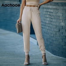 Jogger-Pants Aachoae High-Waist Women Pencil-Trousers Bottoms Drawstring Solid Casual