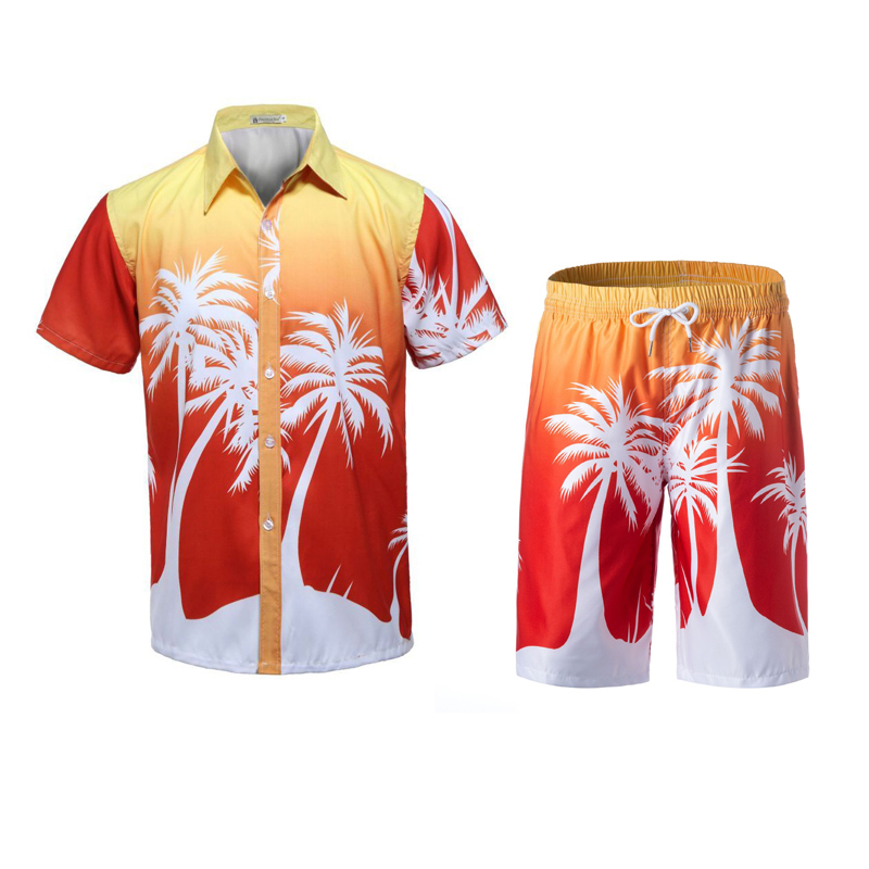 New Men's Set Summer Causal Beach Suits Short Sleeve Shorts Sweatsuit Swim Pants Plus Size Quick-dry Male Workout Wear 4XL