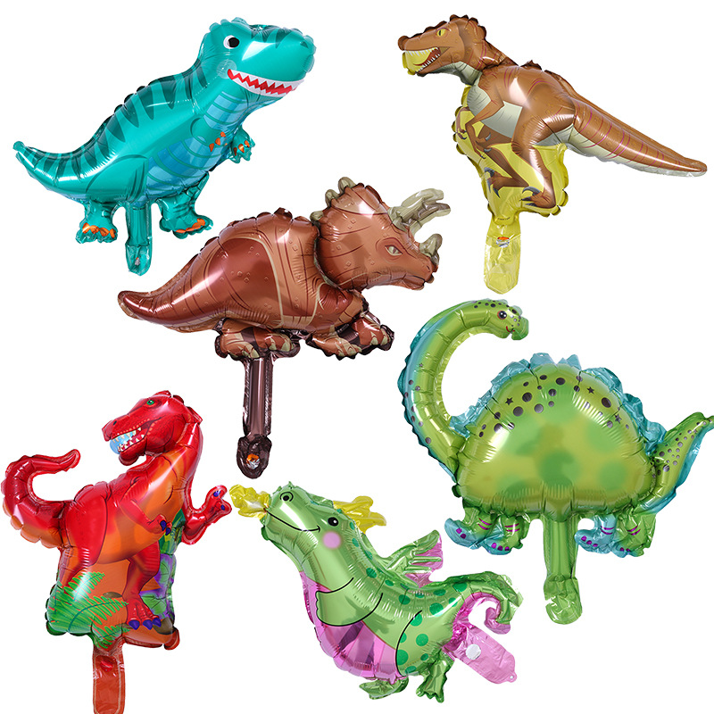 1Pc Mini Dinosaur Foil Balloons Green Red <font><b>Happy</b></font> <font><b>Birthday</b></font> Party Decoration Dinosaur Balloon Standing Animal Air Globos Kids Toys image