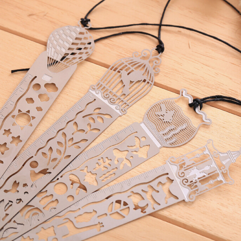 1 Pcs Metal Bookmark Ruler Creative  Hollow Horse Birdcage Metal Bookmark Drawing Ruler Stationery Supplies