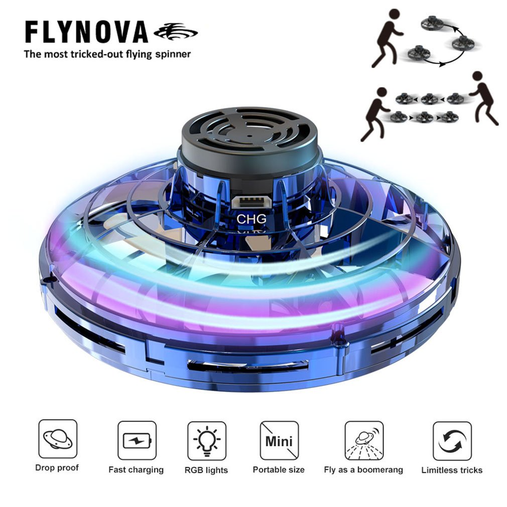 Original Flynova Free Route Rotary Flying Spinner Novalty Spinner Supper Flying Finger Gyro Drone Plane UFO Flying Toys Gifts