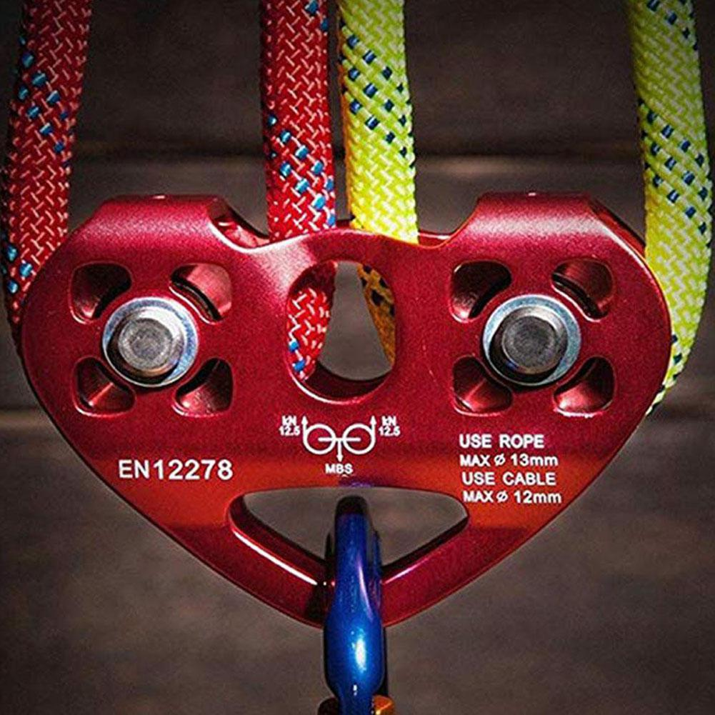 30KN Zip Line Trolley Climbing Buckle Pulley Roller Gear On For Outdoor Sports Rock Climbing Carabiner Rescue Cable Trolley