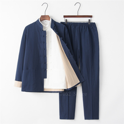 3PCS Chinese Traditional Tang Suit Male Solid Linen Kung Fu Uniform Retro Casual Plus Size Tai Chi 9Colors Clothing Set for Man