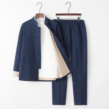 Traje Tang tradicional chino de 3 uds. De lino de color liso uniforme de kungfú Retro Casual de talla grande Tai Chi 9 colores conjunto de ropa para hombre