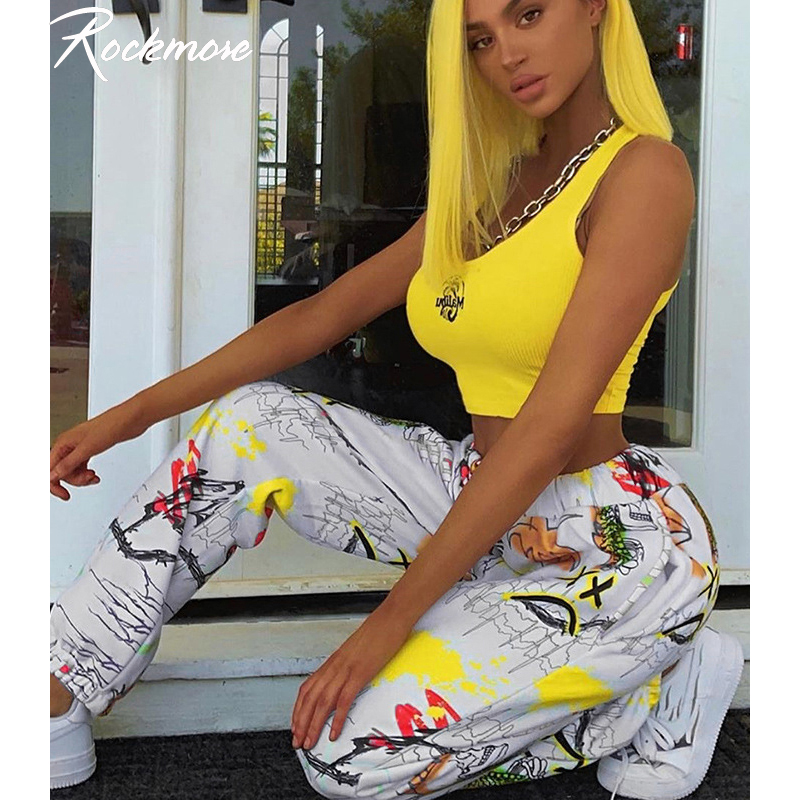 Rockmore Tie Dye Furry Harajuku Pants Women Joggers Streetwear Trousers Loose Wide Leg Sweat Pants SweatPants Femme Plus SizePants & Capris   -