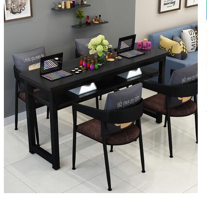Маникюрный Стол и стул набор простой современный двойной черный маникюрный магазин стол специальная цена ретро Маникюрный Стол одиночный - Цвет: 140 cm 4 chairs