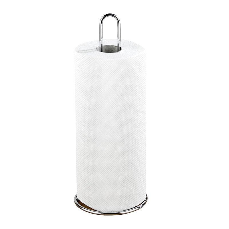 Kitchen roll holder, metal, 12 x 32 x 12 cm, silver glossy