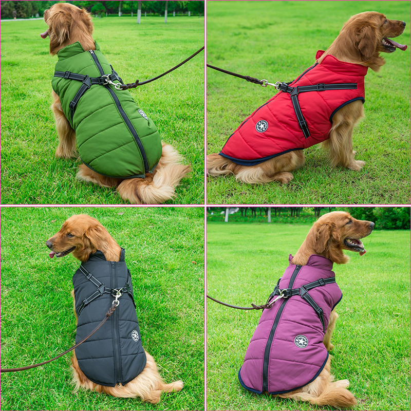 Large Pet Dog Jacket With Harness Winter Warm Dog Clothes For Labrador Waterproof Big Dog Coat Chihuahua French Bulldog Outfits 2