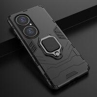 Funda híbrida con soporte de armadura resistente para Huawei P50 Pro, carcasa con anillo metálico a prueba de golpes para teléfono móvil Huawei P50, 2021