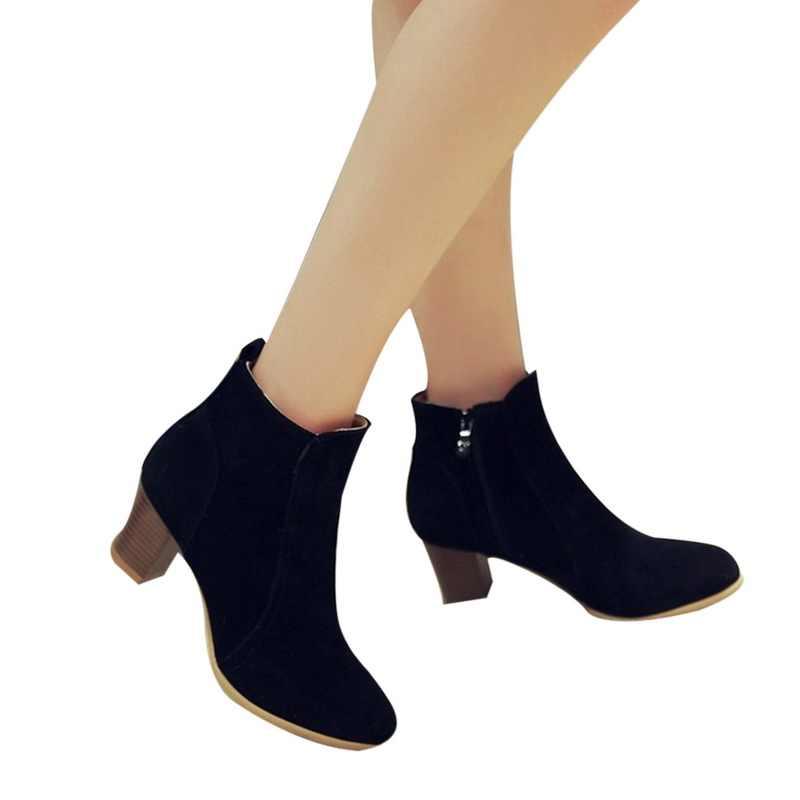 LOOZYKIT 2019 Neue Frauen Stiefel Flock Stiefeletten Frühling Herbst Frauen Stiefel Damen Party Western Stretch Stoff Stiefel Plus Größe