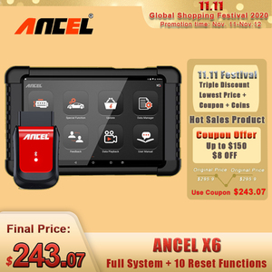 Image 1 - ANCEL herramienta de diagnóstico de coche X6 OBD2, escáner con Bluetooth, aceite ABS EPB DPF, inyector de acelerador, Airbag, reinicio de sistemas completos, escáner OBD2