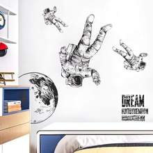 Astronaut Space Wall Stickers for Kindergarten Bedroom Kids room Eco-friendly Wall Decals Removable diy Vinyl Removable Murals space navigation pattern removable cartoon wall stickers