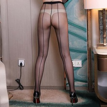 Women Sexy Tights Cuban Heel Back Seam Collants High Waist Nylon Pantyhose Transparent   Collant Femme Charm Medias Mujer