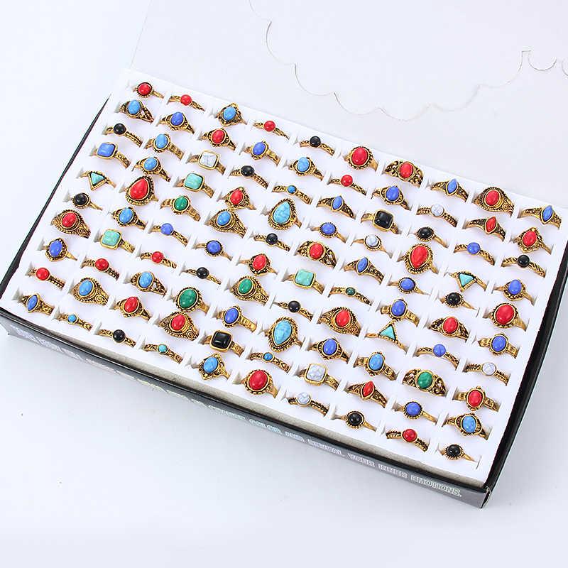 ผสมโบฮีเมียสไตล์ธรรมชาติสีฟ้าสีแดงแหวนหินทิเบต Silver Tone ขนาด 16 17 18 นิ้วแหวนเครื่องประดับสำหรับผู้หญิง 10pcs