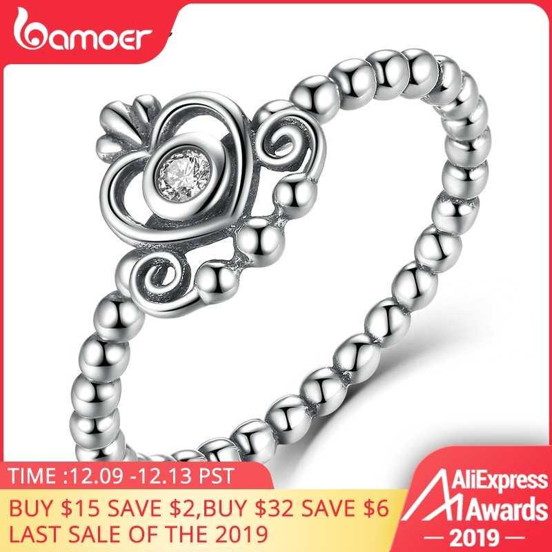 BAMOER 100% 925 เงินสเตอร์ลิงแหวนหมั้นมงกุฎสำหรับสตรีเงินแท้ CZ เครื่องประดับ SCR027