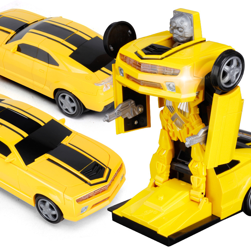 Children Electric Universal Non-Remote Control Transformation Bumblebee Music Automatic Transformation Robot Toy Car