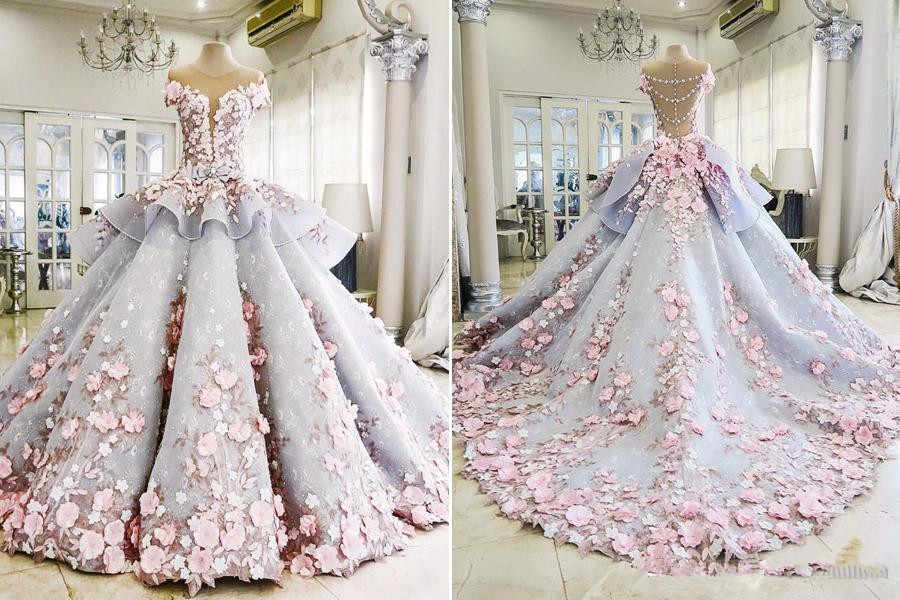 Mak Tumang Maktumang Organza Sweet Short Sleeve Ball Gowns Wedding