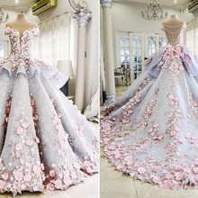 Ball-Gowns Wedding-Dresses Appliques Bridal-Vestidos 3d-Floral Pink Short-Sleeve Lace