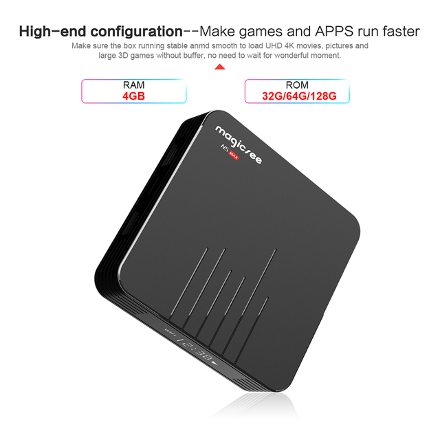 Magicsee N5 MAX Android 9.0 TV Box 4GB RAM 128GB ROM Amlogic S905X3 Quad core Media Player 2.4G 5G WiFi H.265 4K Smart TV Box