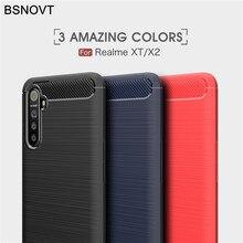 цена на Soft Carbon Fiber Case For OPPO Realme XT X2 C3 5 Pro 5i Cover Shockproof Brushed Phone Bumper For Realme C3 5 Pro 5i XT X2 Case