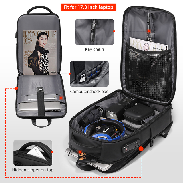 Fenruien New Fashion Waterproof Backpack Anti-Thief School Backpacking Fit for 15.6 Inch Laptop Men Travel Business Backpacks 2