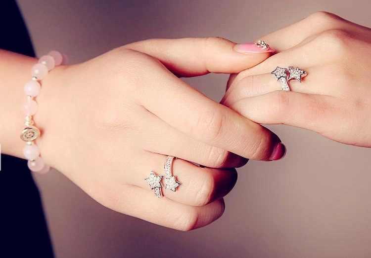 Настоящее S925 Серебряное кольцо со звездами, с бриллиантами, для женщин, твердое изящное кольцо, серебро 925, ювелирные изделия, белый топаз драгоценный камень, кольца Bizuteria gümüş серебро 925 серебряные украшения