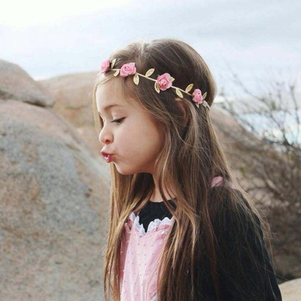 Hot Rose Golden Leaves Baby Headbands For Girls Handmade Elegant Chiffon Baby Hairband Soft Infant Cute Hair Accessories Newborn