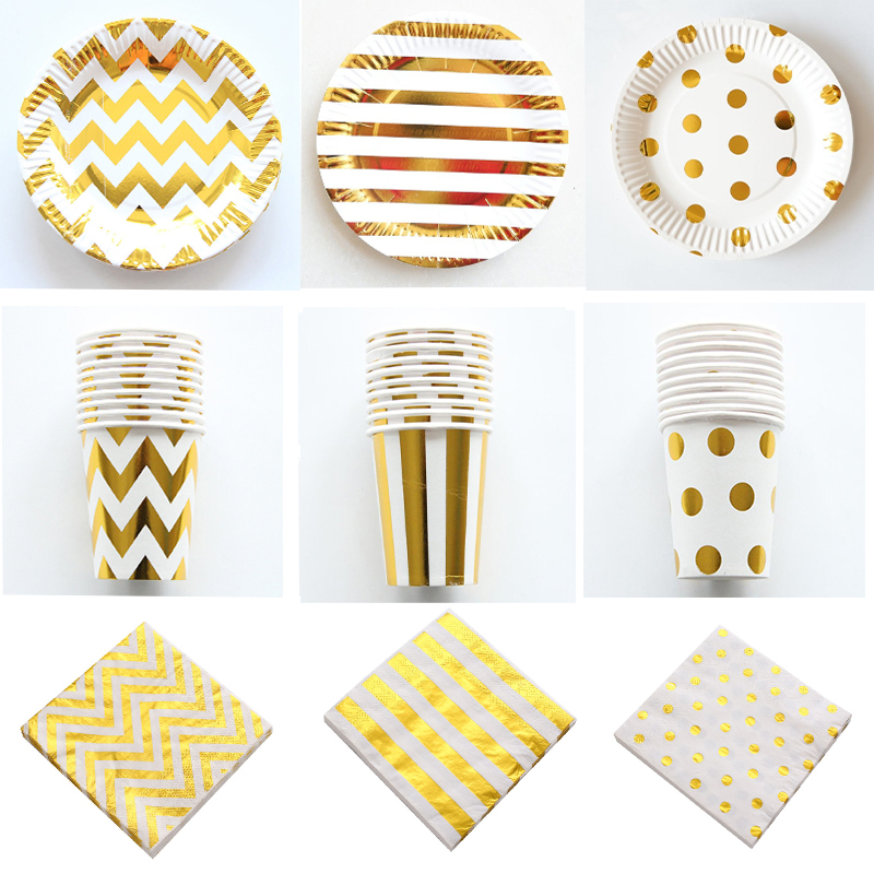 Gold Stripe Series Disposable Tableware Paper Plates Cups Straws Birthday Party Decorations Kids Adult Wedding Party Supplies