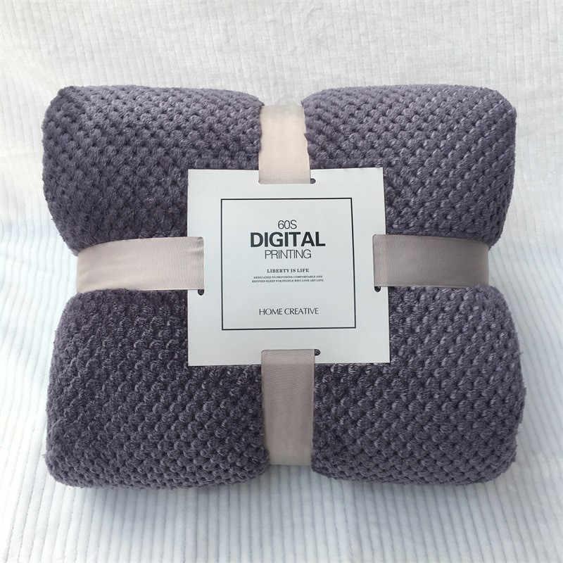 Macio quente coral velo flanela cobertores para camas pele do falso vison lance cor sólida cobertura do sofá colcha inverno manta cobertores 2020