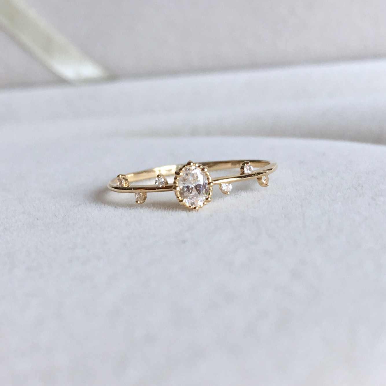 Unico in oro rosa/oro ramo della principessa anello di zircon DELLA CZ signore casuali regali dei monili di modo elegante delle donne anello