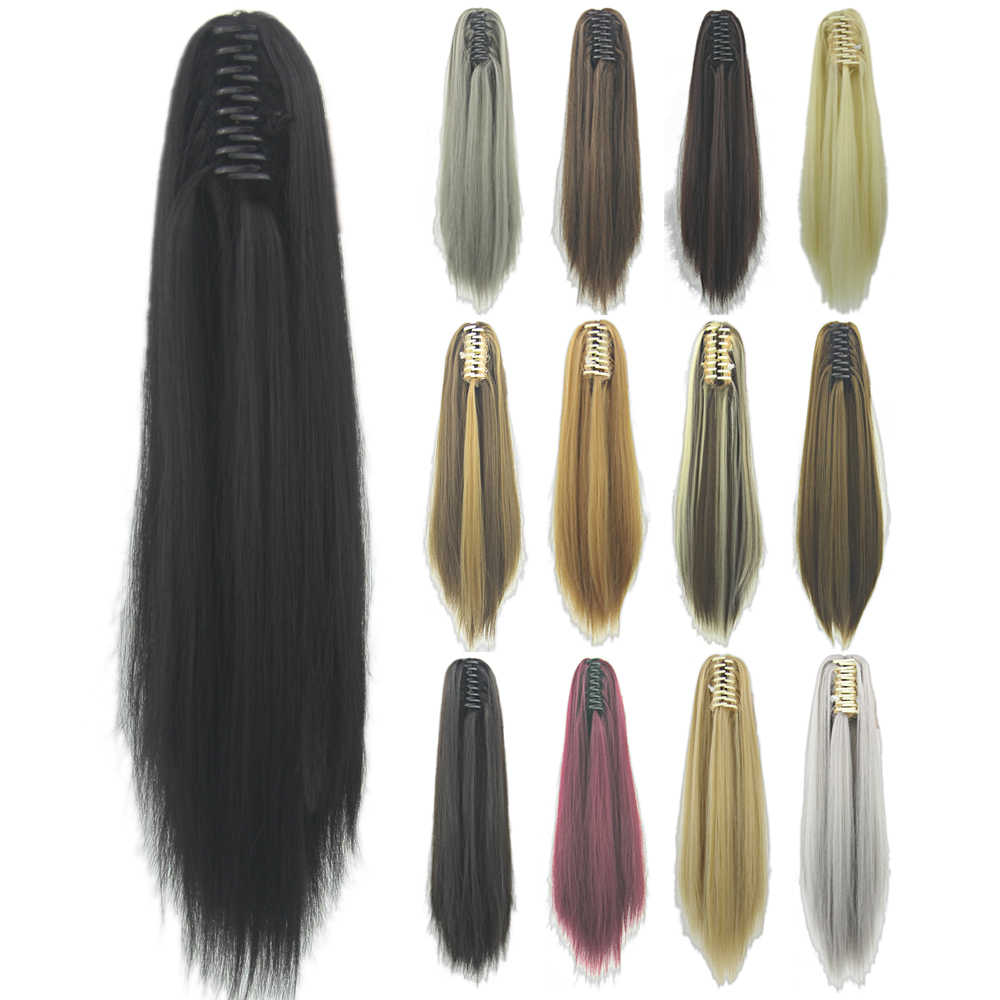 Soowee Long Black Blonde Curly Clip on Hairpiece Extension Clip Pony Tail Synthetic Hair Claw Ponytails Hair Piece