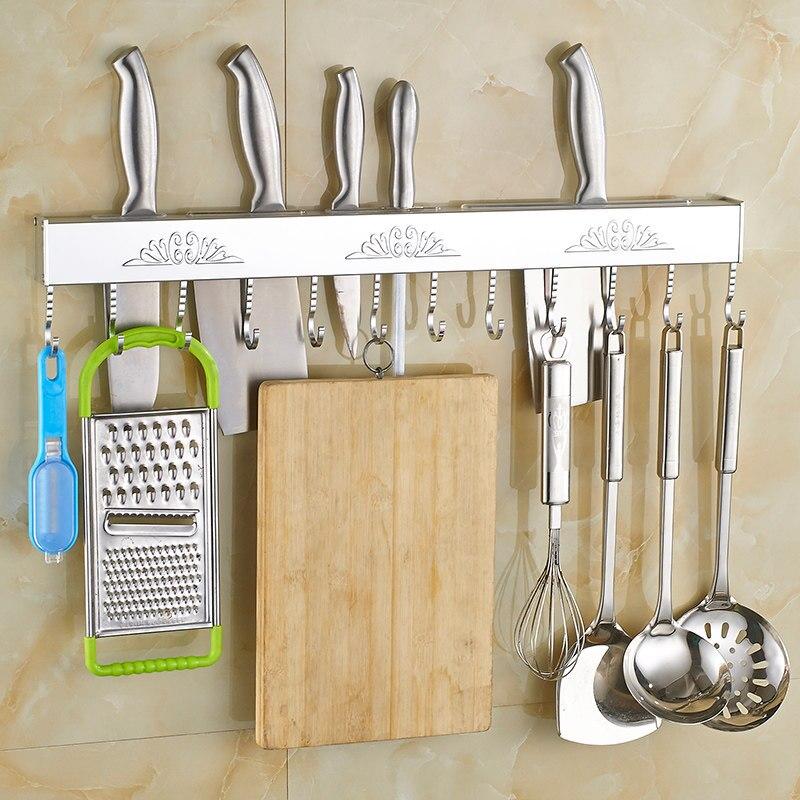 Aluminum Knife Holder Movable Hanging Rod Wall Hanging Punch-free Knife Holder Hook Kitchen Multi-function Rack Knife Holder