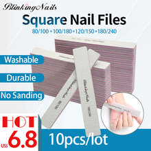 BlinkingNails 80/100 Professional Nail File 120/180 10pcs Gel 180 240 Files 100/180 for Pedicure Sanding 2-Side