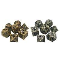 Juego de dados DND de Metal hueco, rueda de engranaje Steampunk, 7 Uds. Para juegos de mesa de RPG MTG, Pathfinder D & D