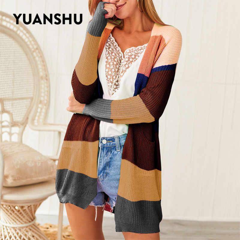 Yuanshu 봄 가을 레인보우 니트 카디건 여성 긴 소매 패치 워크 오픈 프론트 스트라이프 스웨터 여성 코트