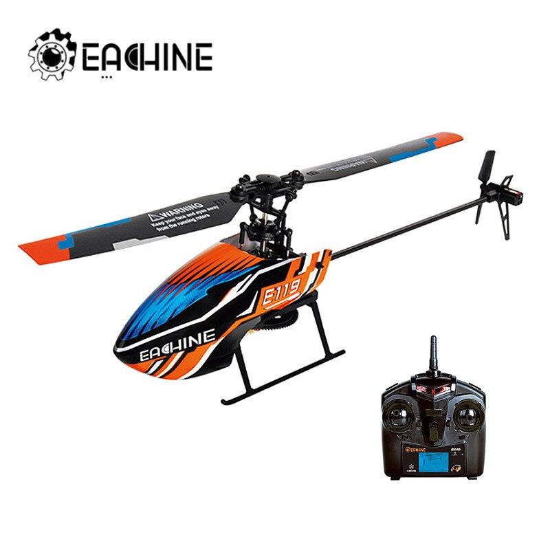 Eachine e119 2.4g 4ch 6-axis 4ch flybarless rc helicóptero rtf modo opcional acelerador da mão direita e esquerda
