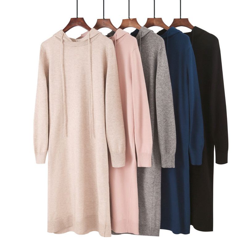 Ladies Hooded Sweatshirt Casual Solid Color Plus Size Loose Knit Hoodie Long Sweatshirt Dress Hooded Pullover Elasticity Soft