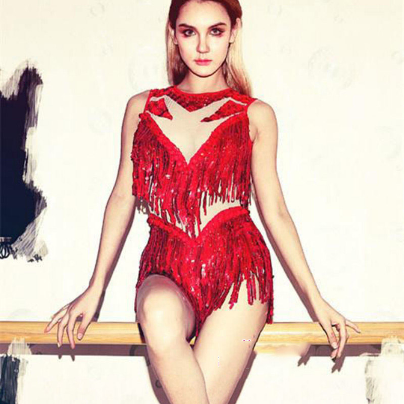 New Ds Bar Stage Performance Clothing Nightclub Dj Female Singer Modern Jazz Dance Costume Red Sequin Fringed Bodysuit DWY3010