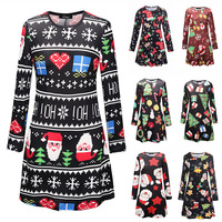Uguest Women Christmas Xmas Dress Snowman Santa Claus Gifts Printed Long Sleeve O neck Loose Autumn Winter Pleated Casual Dress