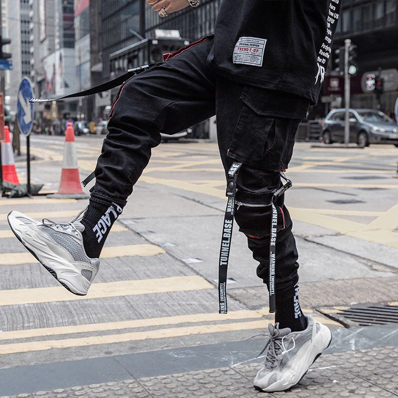 Men Hip Hop Black Cargo Pants joggers Sweatpants Overalls Men Ribbons Streetwear Harem Pants Women Fashions Trousers 3