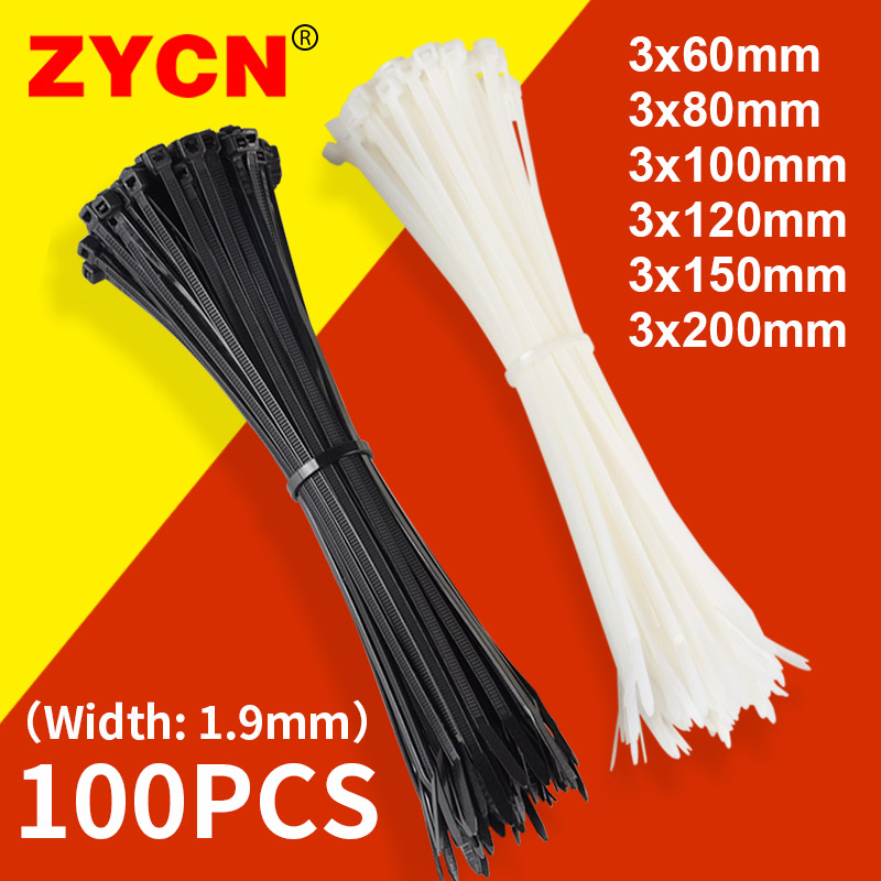 100PCS   Nylon Cable Tie  Self Locking White Black  Cable Wire Zip Ties3 * 60/80/100/120/150/200mm