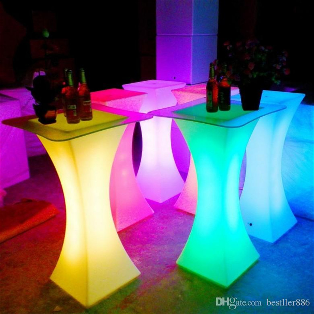 Rechargeable LED Luminous cocktail table waterproof glowing led bar table lighted up coffee table bar kTV disco party supply-in Coffee Tables from Furniture