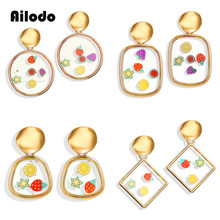 Ailodo Cute Fruit Acrylic Earrings For Women Trendy Round Drop Gold Pendientes Female Fashion Geometric Jewelry LD303
