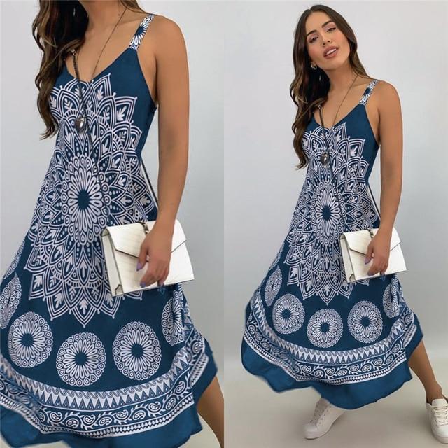 Fashion Women Sleeveless Casual Maxi Dress Printed, Long Dresses Laides V-neck Loose Sundress Party Dresses Mujer Vestido 3
